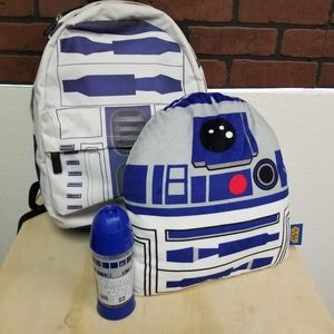 R2D2 backpack with hoody, pillow and tumbler set